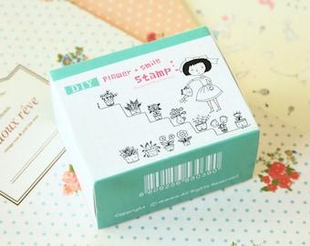 Flower & Smile Pappappiyo DIY Garden Girl stamps set