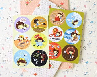 Cookys Girl cartoon point stickers set