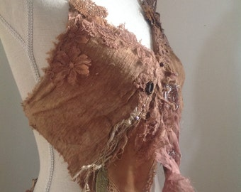 Earthy brown bohemian fractal weave top, peace silk dyed with mushrooms.