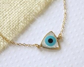Triangle Evil Eye Necklace, Minimalist Necklace, Simple Necklace, Dainty Necklace, Everyday Jewelry, Greek Eye Necklace