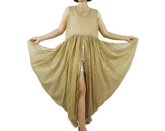 Butterfly - Boho Chic Funky Dusty Tan Light Cotton Mix Polyester Side Drape Long Tanktop Tunic