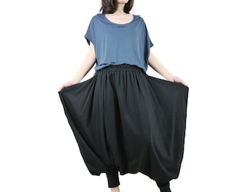 Funky Harem Boho Drop Crotch Black Cotton Jersey Pants With Wide Flap Side And Elastic Waist