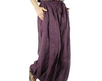 Ocean Breeze....Funky Chic Kelp Forest Striped Detail Plum Light Cotton Pants With Elastic Waist & 2 Inseam Pockets