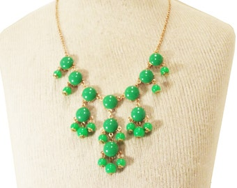 J Crew Bubble Necklace Inspired Cabochon Lime Green Bubble Statement Bib Necklace.