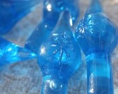 12 Blue Plastic Pegs for Ceramic Christmas Tree or Crafting, With Star Design, Vintage Decoration, Lights