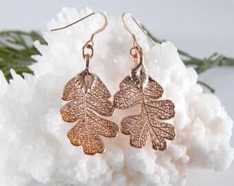 Rose Gold Oak Leaf Earrings