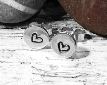 Silver Heart Earrings, Silver Studs, Round Studs, Small Studs, Mother's Day gift