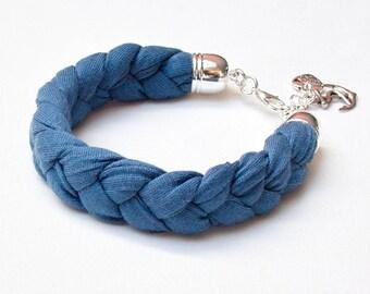 TASSEL bracelet, cotton  bracelet, summer accessories, braided bracelet upcycled jersey, bracelet with tassel, braided bracelet