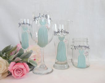 EXACT DRESS REPLICAS, Hand Painted Personalized Bridesmaid Champagne Glasses, Personalized Wine Glasses, Green Dress Wine Glasses, Tumblers