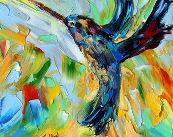 Hummingbird painting Original oil portrait abstract palette knife impressionism on canvas fine art by Karen Tarlton