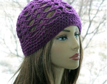 Crochet womens summer hat  beanie womens crochet cap  skull caps chemo skullcap fashionable hats boho beanie retro and chic