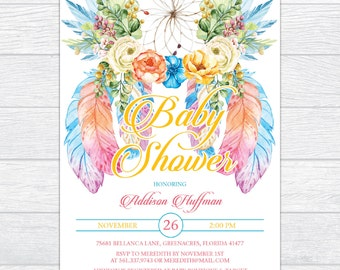 Bohemian Dream Catcher Baby Shower Invitation, Personalized Girl Boho Baby Shower Invitation, Printable Dreamcatcher Baby Shower Invitation