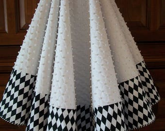 """58"""" White and Black  and White Quilted Hand Beaded Reversible Christmas Tree Skirt  2017 Collection"""
