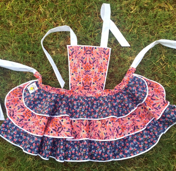 Womens pink and blue rifle paper company fabric apron