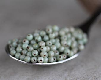 3mm Sage Picasso Druk Glass Beads, Czech Glass Beads, Glass Round Beads (150pcs) NEW
