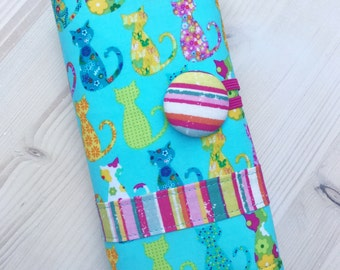 Cats Crochet Hook Case Aqua Orange Teal Pink Green Organizer with Zipper Pocket Clover Amour Soft Grip Polymer Clay Furls  - Made to Order