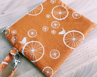 Eco-Friendly Orange Bird & Cotton Zip Bag with Organic Fabric
