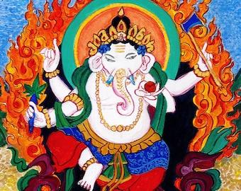 Ganesh, Hindu Buddha, Lord Ganesha Custom Wall Art Painting, elephant god, childs room art, yoga art, tibetan thangka style painting