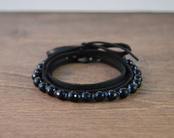 Onyx & Leather Wrap Bracelet / Choker / Long Necklace