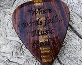 Multi-Wood Guitar Pick - Premium Quality - Handmade - Laser Engraved Both Sides - Bookmatched - Actual Pick Shown - Artisan Guitar Pick