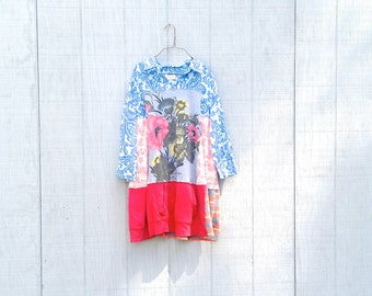 Beautiful Floral Patchwork dress funky upcycled boho gypsy  wearable art tunic dress by CreoleSha
