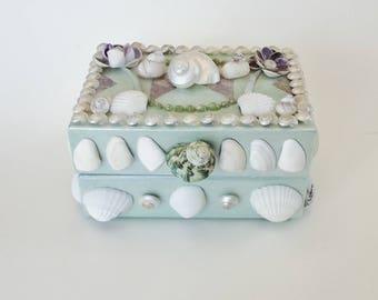Seashell Embellished Wood Box, Decoupage, Fabric Lined Box