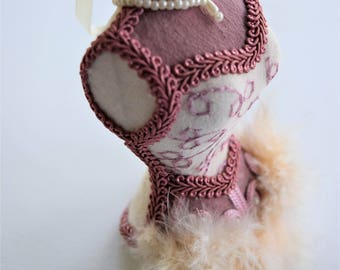 CORSET MANNEQUIN Tree ORNAMENT Rose Pink Embroidery Dress Form Fir Gimp Trim Pearl Necklace Woman Victorian Lady Ladies Women Figural Shape