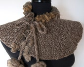 Light Taupe Beige Gray Melange Color Knitted Capelet Ruffled Cowl Turtleneck Collar with Flower Ties