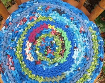 """rag rug chair pads Set of 2 round, crochet """"braided"""" chairpads, boho chic, shabby chic, at home on the porch #55"""