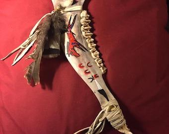 Native American Warclub dance staff Elk jaw bone