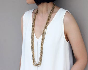Beaded Necklaces Long Wrap Strand Taupe Brass Cube