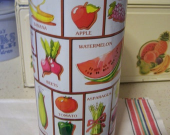 Vintage Cylinder Metal Canister, Red Gingham, Fruits & Veggies, Spaghetti, Pasta, Farm House, Country Chic, Pantry Storage