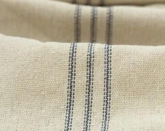 Grain sack Fabric by the Yard- Nine Blue Stripes