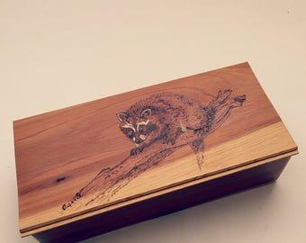 Wooden Gift Box, small decorative box,  personalized, wooden box, mens keepsake box, racoon, wood burned, kids treasure box,