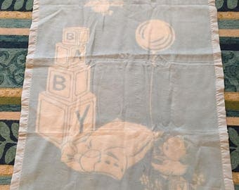 Vintage Baby Blanket With Baby Blocks Bear and Duck