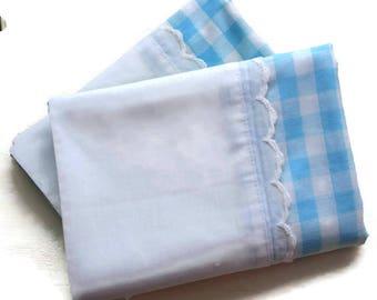 Utica Aqua Blue Gingham Percale Pillowcase Pair