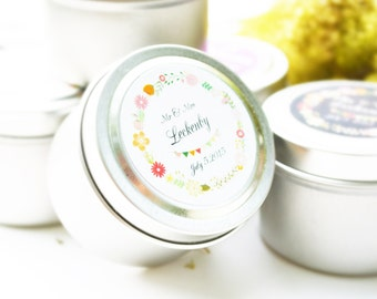 25 Wedding Favors Soy Candles in Natural Pure Certified Essential Oil - 2 Oz.Travel Tin with Personalized Label