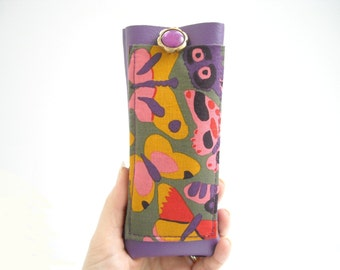 Colorful butterflies eyewear cover, eyeglass case with lanyard, faux leather, holder for glasses, spectacles cover