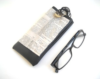 Newspaper typography fabric eyeglass case, eco leather eyewear holder, neck lanyard reading glasses cover with pocket, hanging glasses case