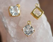 10pcs Clear Rhinestone Square Charms 10x8mm, Gold Plated Brass Findings, Lead Nickel Free (GB-044)