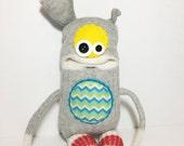 RESERVED - WERBIN - Sockmonster, Handmade Monster, Stuffed Toy