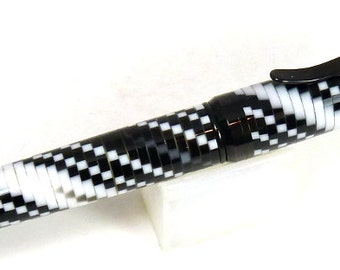 Segmented Spiral Black and White Acrylic on a Black Enamel Cigar Twist Pen