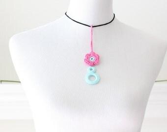 Crochet Aqua and Bright Pink Necklace