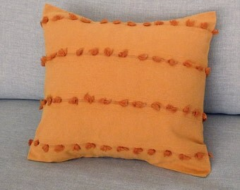 "100% Cotton, Popcorn Pattern, Light Orange/Mustard Yellow Decorative Pillowcase 15"" X 16"""