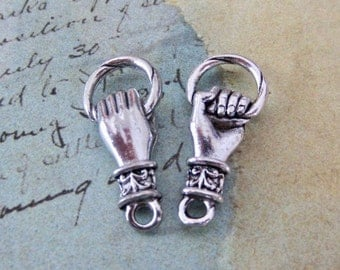 Hand charm -Connectors -  Antique Silver - Hand holding ring charm or Door knocker charm - jewelry finding - 1 pair