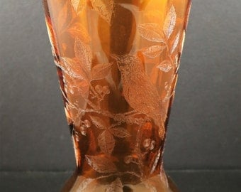 Cambridge, Etch No. 717 on an Amber 12 Inch, No. 402 Blank Vase