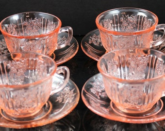 Set of Four, Sharon aka Cabbage Rose, Pink Cup and Saucer Sets