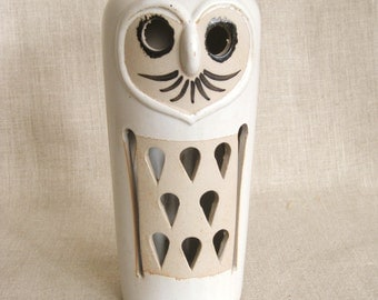 Vintage Ceramic Owl, Lantern, Candle Cover, Bird, Modern, Mid-Century, Norleans, Candle Accessories, Sculpture, Statue,Pottery,Danish Modern