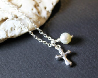 Dainty Silver Cross Pearl Charm Necklace, Sterling Silver Chain , Baptism Gift