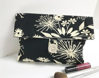 READY TO SHIP - Black and Ivory Cosmetic Bag, Bridesmaid Gift